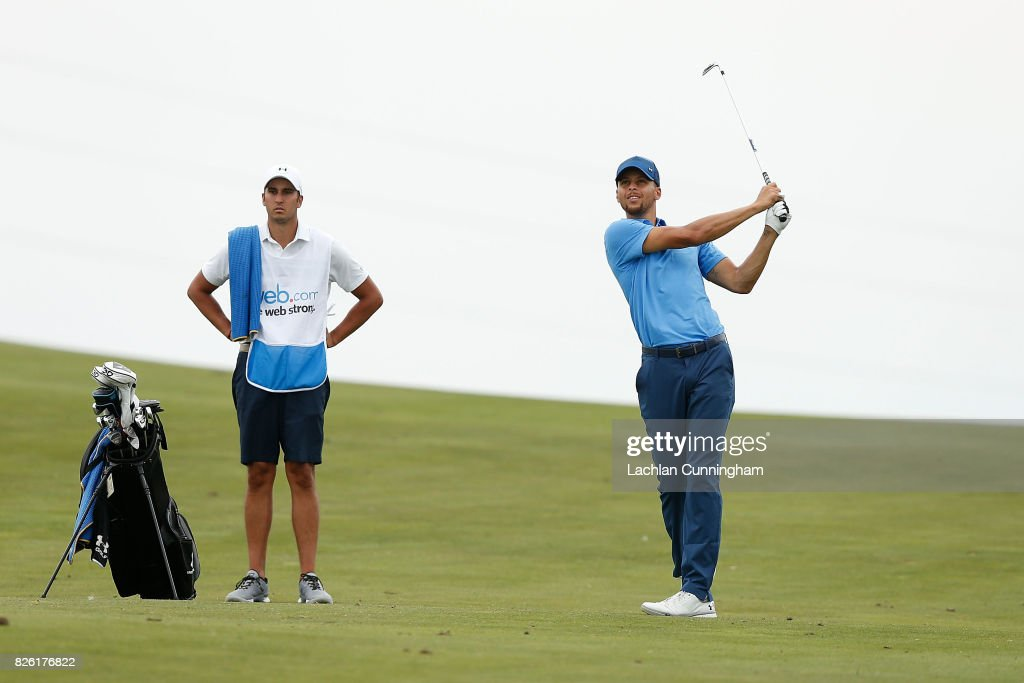 Stephen Curry plays an approach shot to the ninth green during round one of the Ellie Mae Classic at TCP Stonebrae on August 3, 2017 in Hayward, California.