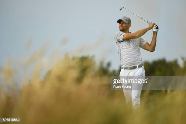 Stephen Curry plays his shot from the 12th tee during the second round of the Webcom Tour Ellie Mae Classic at TPC Stonebrae on August 4 2017 in...
