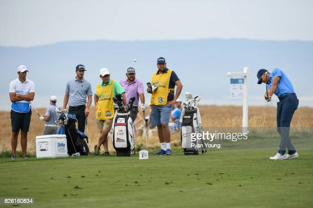 Stephen Curry plays his shot from the 16th tee during the first round of the Webcom Tour Ellie Mae Classic at TPC Stonebrae on August 3 2017 in...