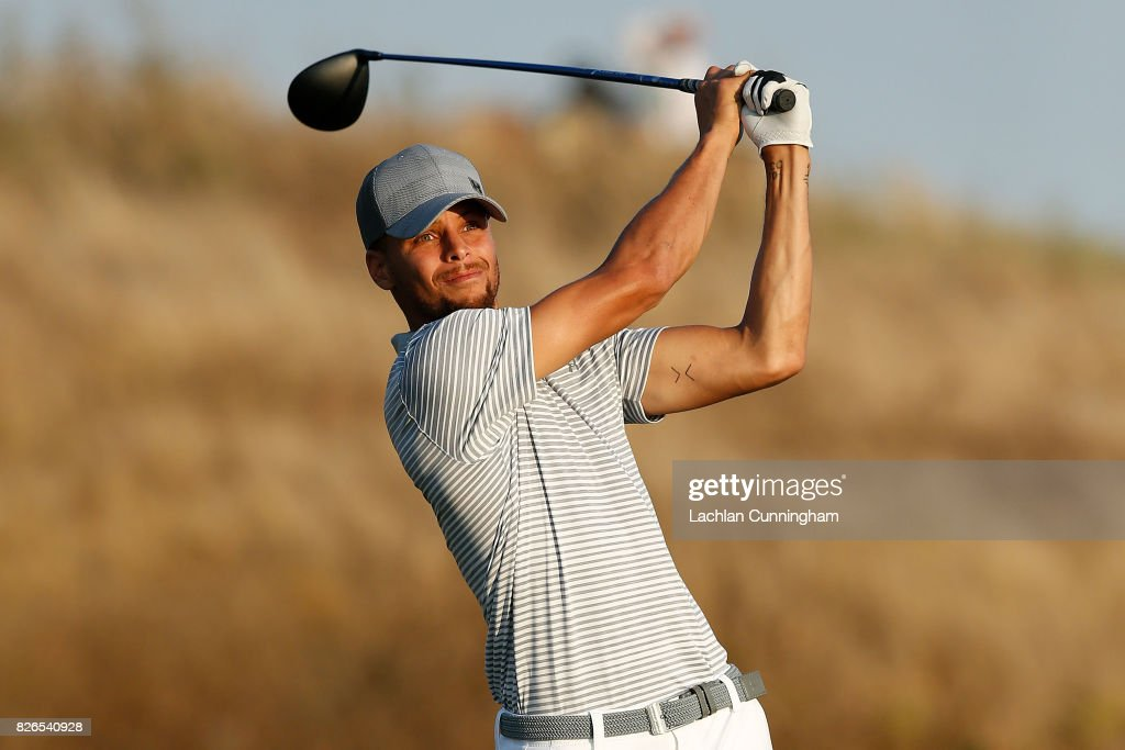 Stephen Curry plays his tee shot on the seventeenth hole shot during round two of the Ellie Mae Classic at TCP Stonebrae on August 4, 2017 in Hayward, California.