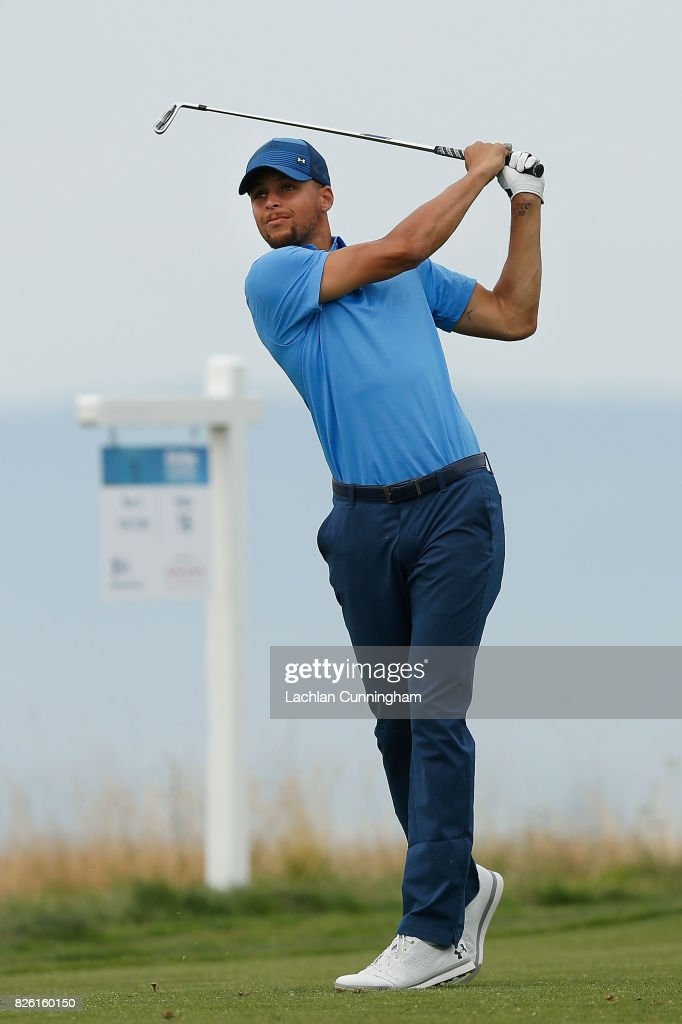 Stephen Curry plays his tee shot on the sixteenth hole during round one of the Ellie Mae Classic at TCP Stonebrae on August 3, 2017 in Hayward, California.