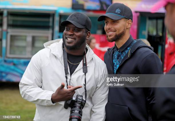 Stephen Curry poses with a fan at The Workday Charity Classic, hosted by Stephen and Ayesha Curry's Eat. Learn. Play. And Workday, at Franklin...