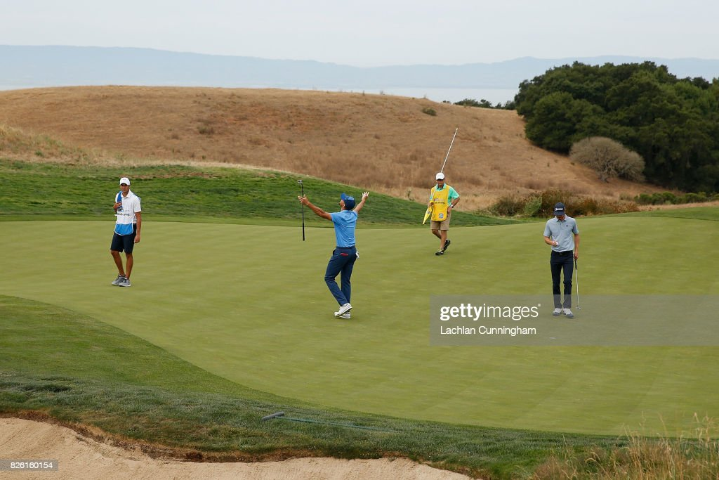 Stephen Curry reacts after scoring a birdie on the fifteenth hole during round one of the Ellie Mae Classic at TCP Stonebrae on August 3, 2017 in Hayward, California.