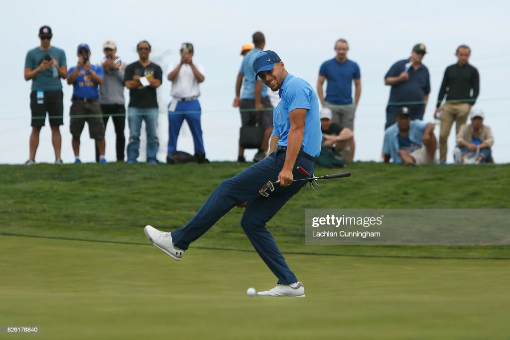 Stephen Curry reacts as his putt misses on the eighth hole during round one of the Ellie Mae Classic at TCP Stonebrae on August 3, 2017 in Hayward, California.