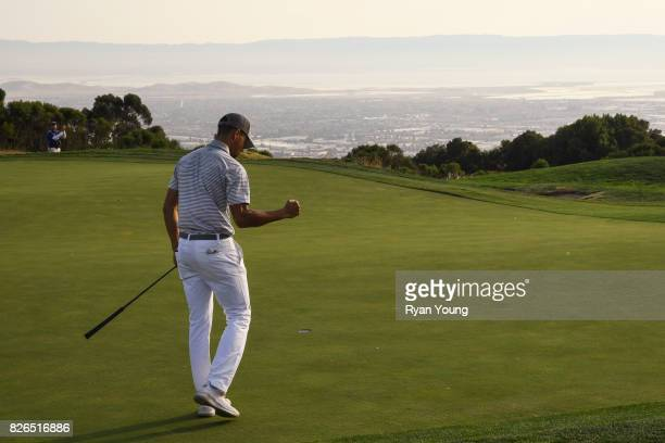 Stephen Curry reacts to making a putt on the 14th hole during the second round of the Webcom Tour Ellie Mae Classic at TPC Stonebrae on August 4 2017...