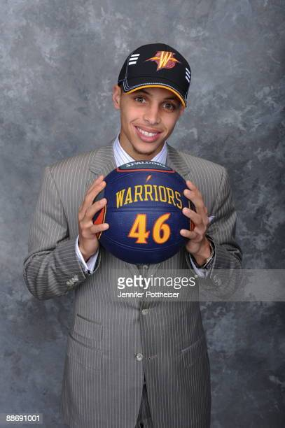 Stephen Curry selected by the Golden State Warriors poses for a portrait during the 2009 NBA Draft at The WaMu Theatre at Madison Square Garden on...