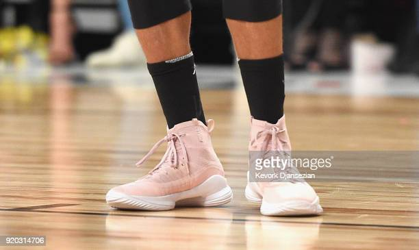 Stephen Curry shoes on display during the NBA AllStar Game 2018 at Staples Center on February 18 2018 in Los Angeles California