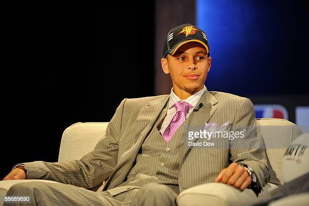Stephen Curry speaks with Mark Jones of ESPN after being selected by the Golden State Warriors during the 2009 NBA Draft at the WaMu Theatre at...