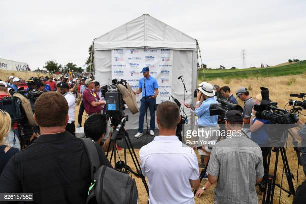 Stephen Curry talks to the media following his round during the first round of the Webcom Tour Ellie Mae Classic at TPC Stonebrae on August 3 2017 in...
