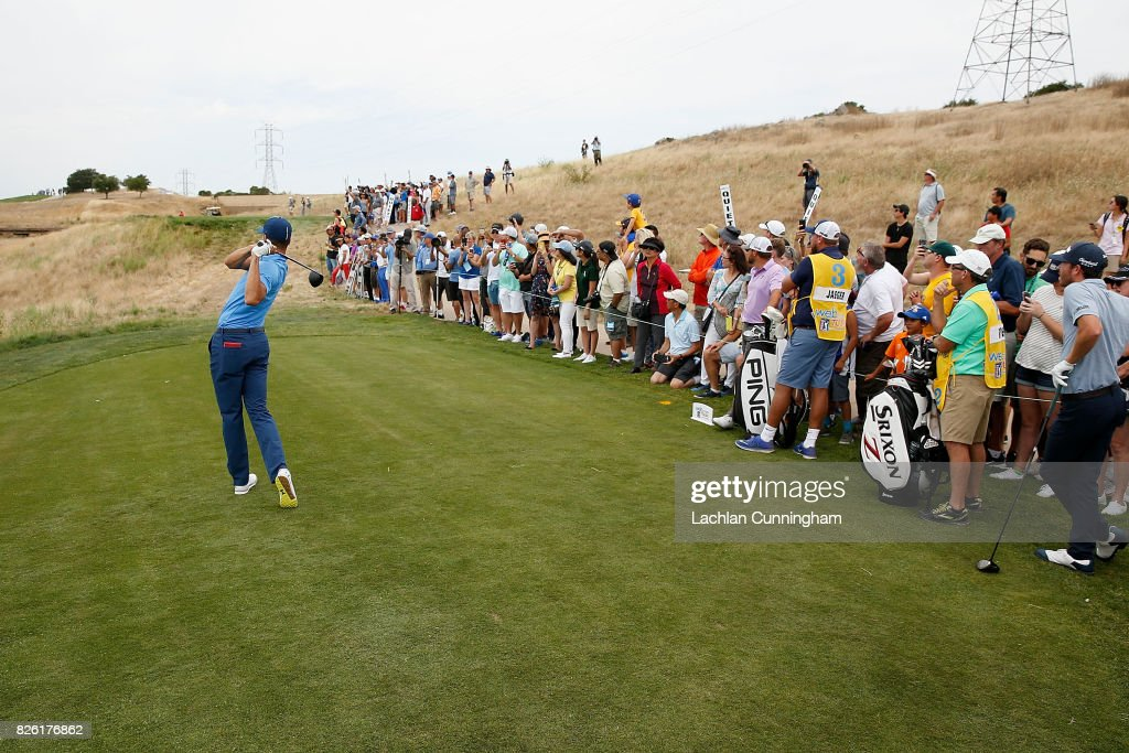 Stephen Curry tees off from the ninth tee during round one of the Ellie Mae Classic at TCP Stonebrae on August 3, 2017 in Hayward, California.
