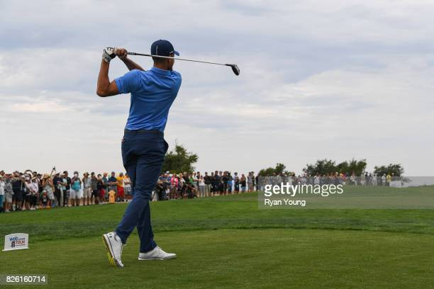 Stephen Curry tees off on the tenth hole during the first round of the Webcom Tour Ellie Mae Classic at TPC Stonebrae on August 3 2017 in Hayward...