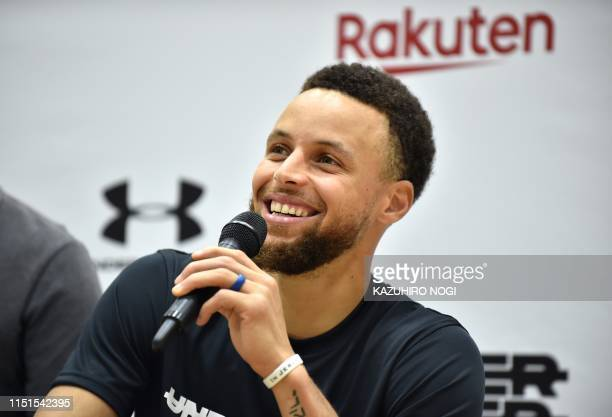 Stephen Curry, US basketball player from the Golden State Warriors of the National Basketball Association , speaks during a press conference...
