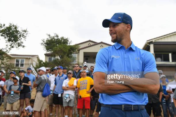 Stephen Curry waits to play his shot on the 13th hole during the first round of the Webcom Tour Ellie Mae Classic at TPC Stonebrae on August 3 2017...