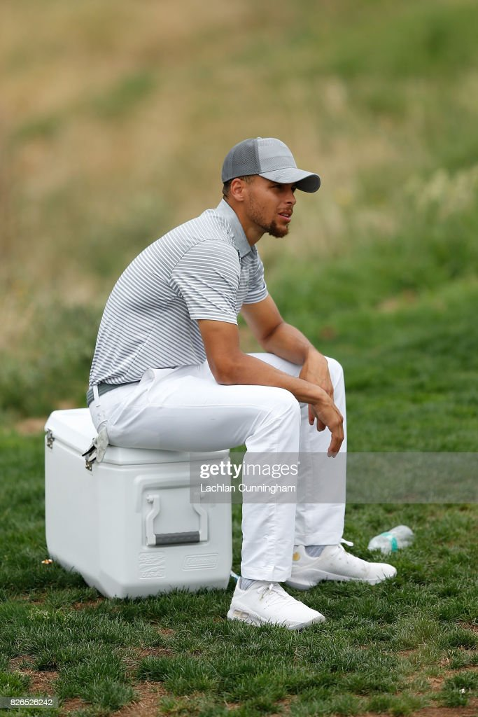 Stephen Curry waits to tee off on the second hole during round two of the Ellie Mae Classic at TCP Stonebrae on August 4, 2017 in Hayward, California.