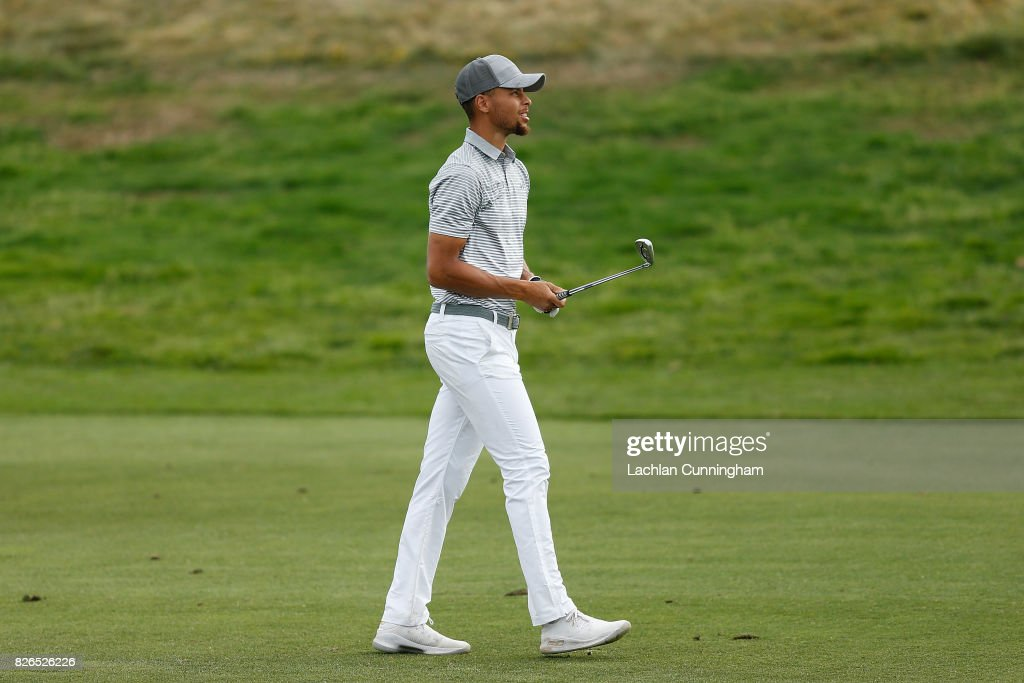 Stephen Curry walks up the eleventh fairway during round two of the Ellie Mae Classic at TCP Stonebrae on August 4, 2017 in Hayward, California.