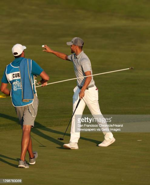 Stephen Curry with a birdie on the 17th hole during the second round of the Ellie Mae Classic golf tournament at TPC Stonebrae in Hayward, Ca., on...