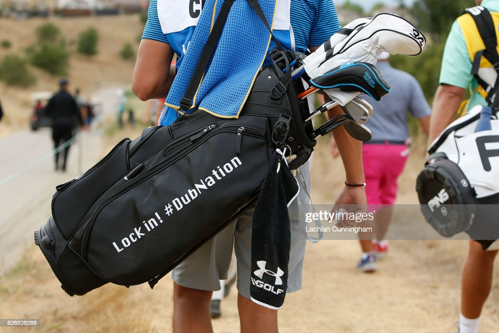 Stephen Curry's golf bag being carried by his caddie Jonnie West during round two of the Ellie Mae Classic at TCP Stonebrae on August 4, 2017 in Hayward, California.