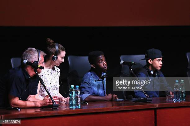 Stephen Daldry Rooney Mara Rickson Tevez and Gabriel Weinstein attend the 'Trash' Press Conference during the 9th Rome Film Festival on October 18...