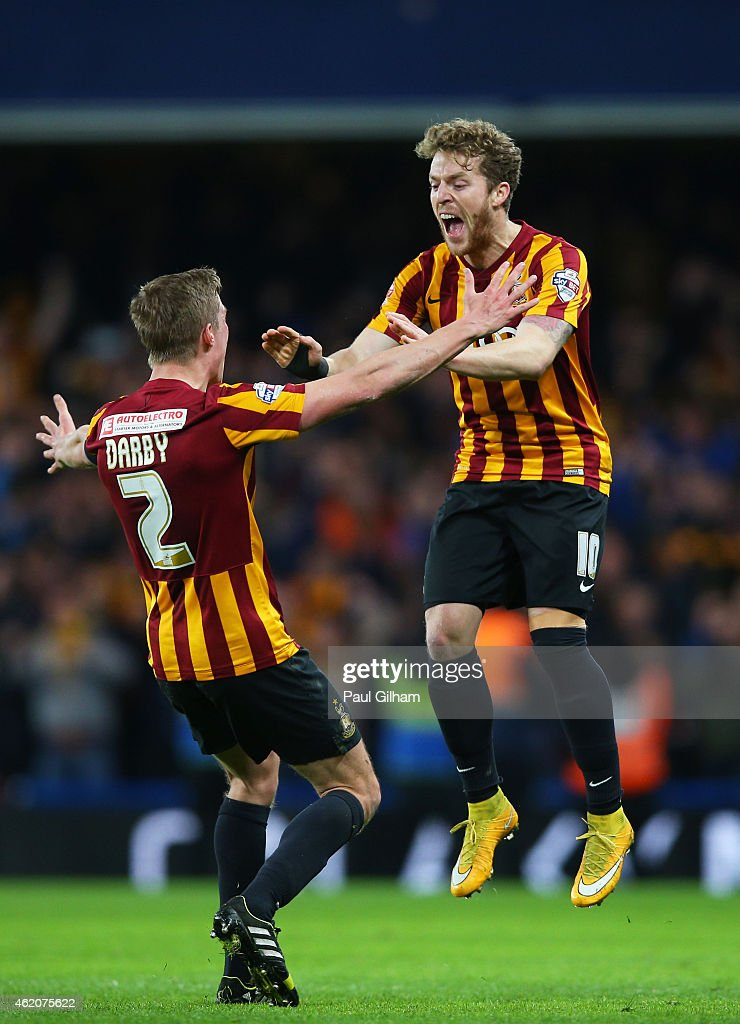 Stephen Darby of Bradford City and Billy Clarke of Bradford City celerate following their team's 4-2 victory during the FA Cup Fourth Round match between Chelsea and Bradford City at Stamford Bridge on January 24, 2015 in London, England.
