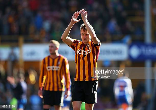Stephen Darby of Bradford City applauds the fans following their team's 0-0 draw during the FA Cup Quarter Final match between Bradford City and...