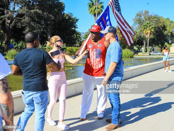 Stephen Davis aka 'MAGA Hulk' is seen during ProTrump Demonstration in West Hollywood on September 19 2020 in Los Angeles California