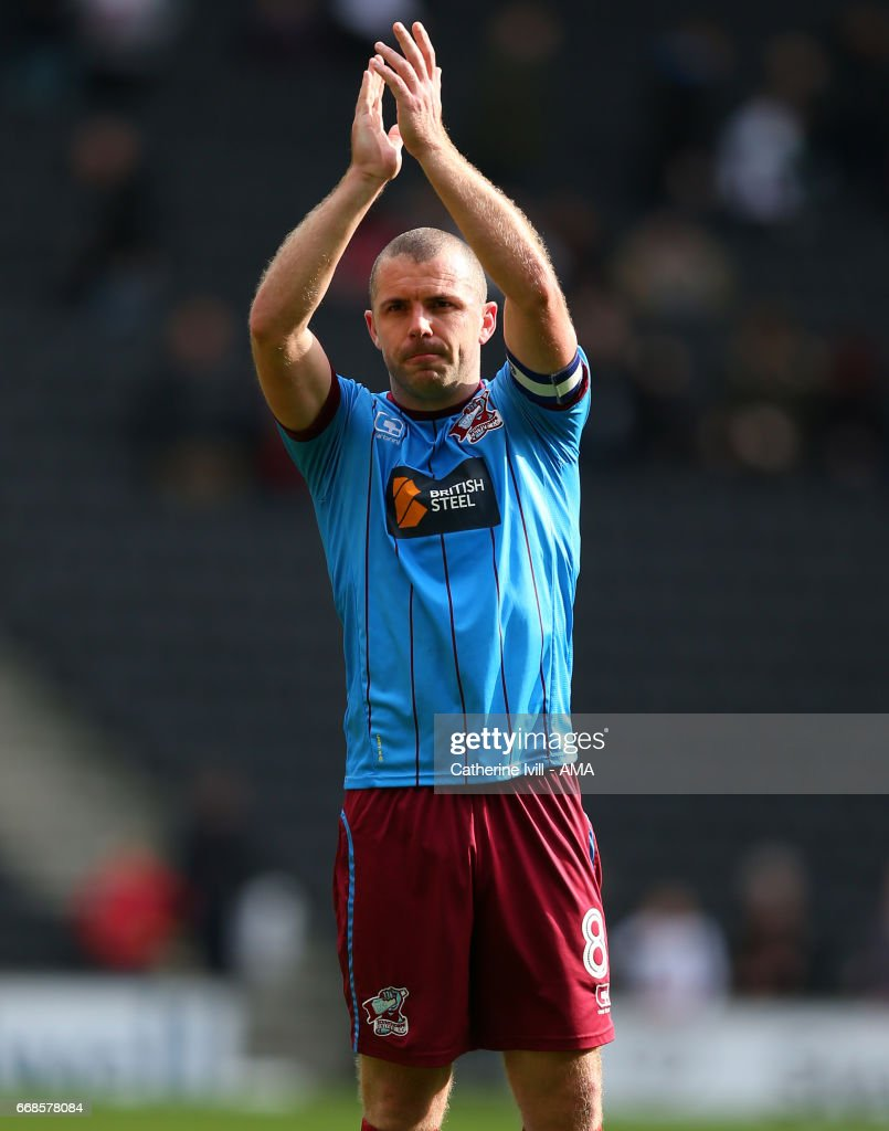 Stephen Dawson of Scunthorpe United during the Sky Bet League One match between MK Dons and Scunthorpe United at StadiumMK on April 14, 2017 in Milton Keynes, England.