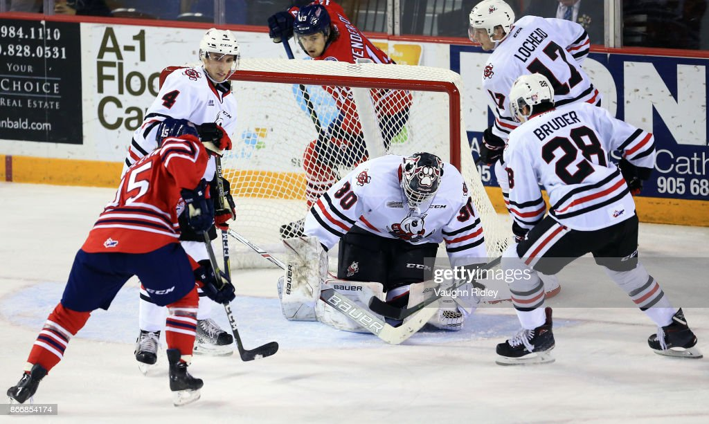 Stephen Dhillon #30 of the Niagara IceDogs makes a save during an OHL game against the Oshawa Generals at the Meridian Centre on October 26, 2017 in St Catharines, Ontario, Canada.