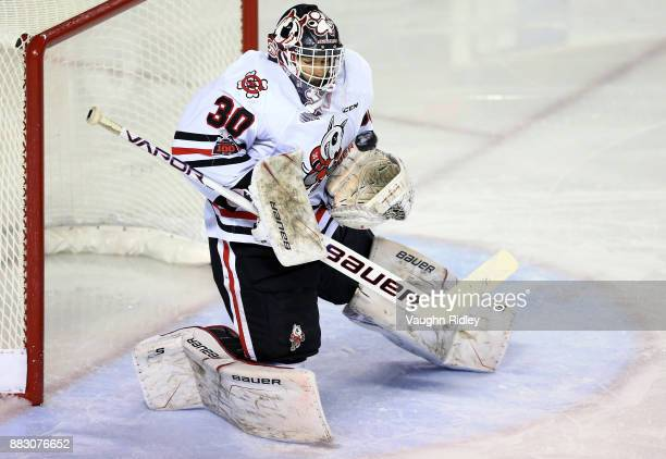 Stephen Dhillon of the Niagara IceDogs makes a save during an OHL game against the Mississauga Steelheads at the Meridian Centre on November 25 2017...