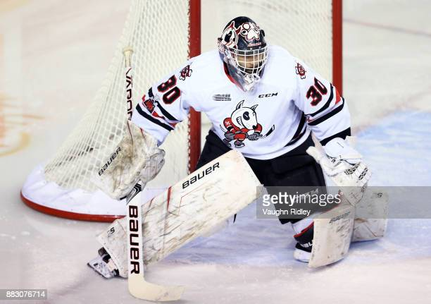 Stephen Dhillon of the Niagara IceDogs watches the puck during an OHL game against the Mississauga Steelheads at the Meridian Centre on November 25...