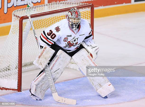 Stephen Dhillon of the Niagara IceDogs watches the puck during the second period of an OHL game against the Sudbury Wolves at the Meridian Centre on...