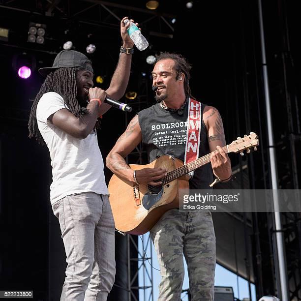 Stephen 'Di Genius' McGregor and Michael Franti of Michael Franti Spearhead perform on April 17 2016 in Fort Lauderdale Florida