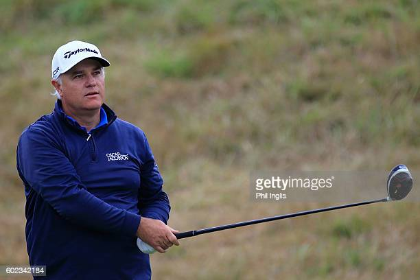 Stephen Dodd of Wales in action during the final round of the Paris Legends Championship played on L'Albatros Course at Le Golf National on September...