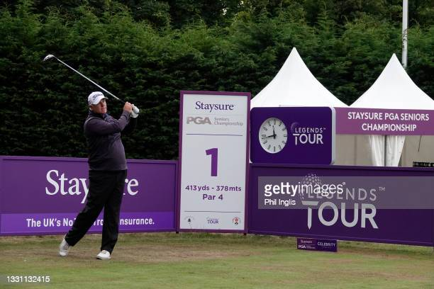 Stephen Dodd of Wales in action during the ProAm ahead of the Staysure PGA Seniors Championship at Formby Golf Club on July 28, 2021 in Formby,...