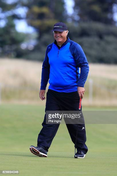 Stephen Dodd of Wales in action during the second round of the Scottish Senior Open at The Renaissance Club on August 5 2017 in North Berwick Scotland