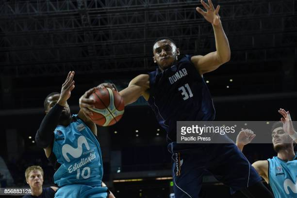 Stephen Domingo #31 of Donar Groningen in action during the second game of Qualification Round for the basketball Champions league between...