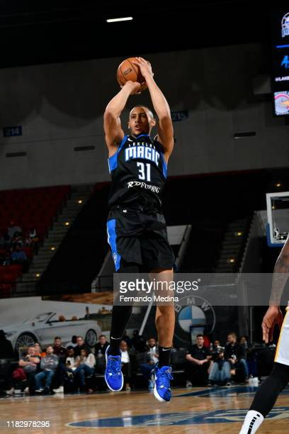 Stephen Domingo of the Lakeland Magic shoots against the College Park Skyhawks during the game on November 16 2019 at RP Funding Center in Lakeland...