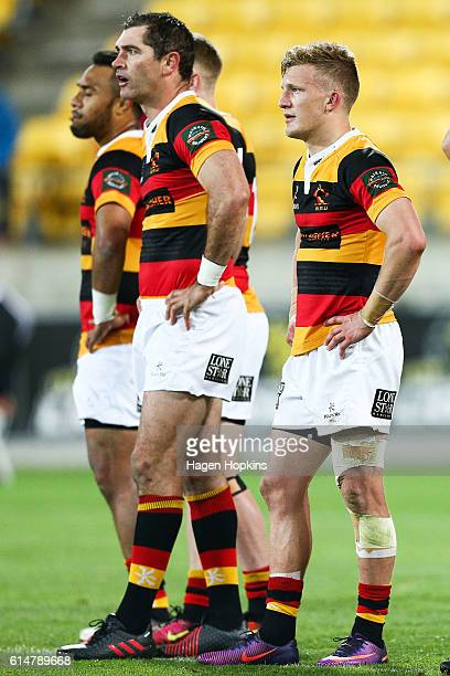 Stephen Donald and Damian McKenzie of Waikato look on during the round nine Mitre 10 Cup match between Wellington and Waikato at Westpac Stadium on...