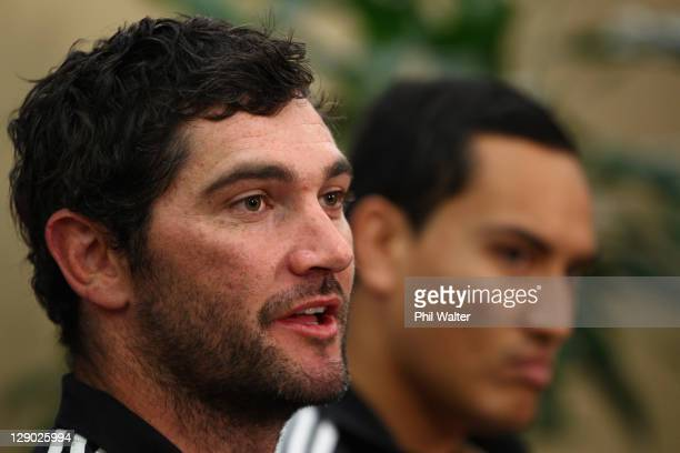 Stephen Donald and Hosea Gear of the All Blacks during a New Zealand All Blacks IRB Rugby World Cup 2011 media session at The Heritage Hotel on...