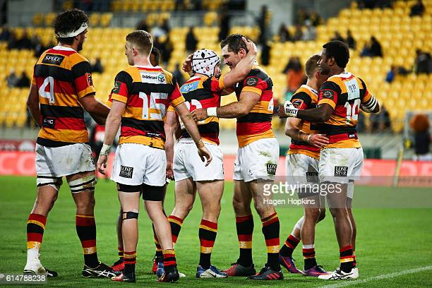 Stephen Donald and Isaac Boss of Waikato celebrate the win at the final whistle during the round nine Mitre 10 Cup match between Wellington and...