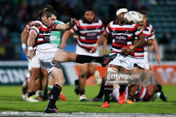 Stephen Donald of Counties Manukau kicks during the round eight Mitre 10 Cup match between Manawatu and Counties Manukau at Central Energy Trust...