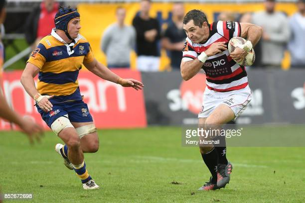 Stephen Donald of Counties Manukau looks for a gap during the round six Mitre 10 Cup match between Bay of Plenty and Counties Manukau Tauranga Domain...
