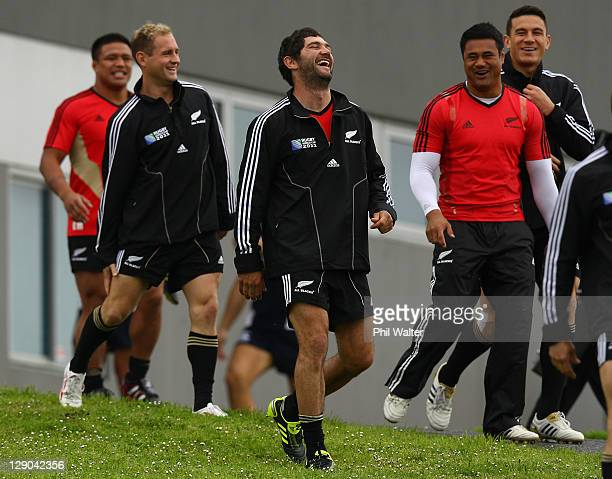 Stephen Donald of the All Blacks has a laugh as the team arrives for a New Zealand All Blacks IRB Rugby World Cup 2011 training session at Trusts...