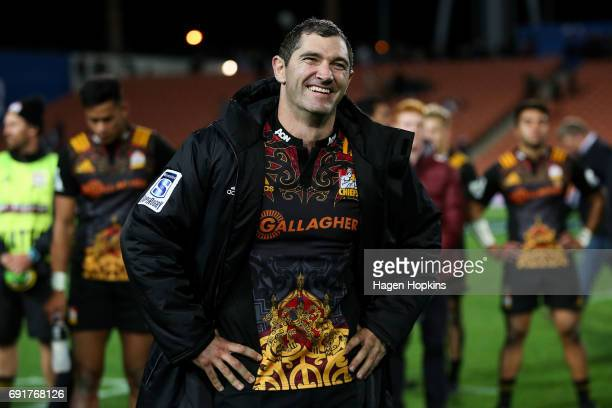 Stephen Donald of the Chiefs is all smiles after playing his 100th game for the Chiefs during the round 15 Super Rugby match between the Chiefs and...