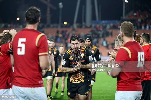 Stephen Donald of the Chiefs is applauded at the end of the game during the International Test match between the Chiefs and Wales at Waikato Stadium...