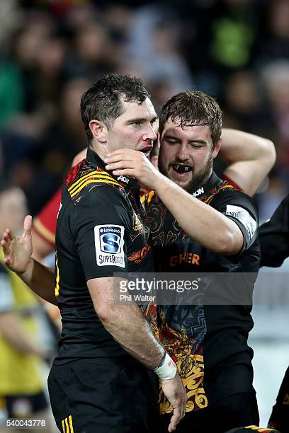 Stephen Donald of the Chiefs is congratulated during the International Test match between the Chiefs and Wales at Waikato Stadium on June 14 2016 in...