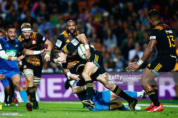 Stephen Donald of the Chiefs pushes forward during the round seven Super Rugby match between the Chiefs and the Blues on April 8 2016 in Hamilton New...
