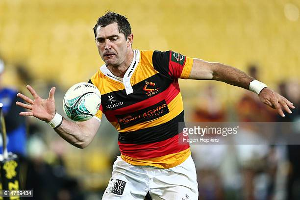 Stephen Donald of Waikato keeps the ball in play during the round nine Mitre 10 Cup match between Wellington and Waikato at Westpac Stadium on...