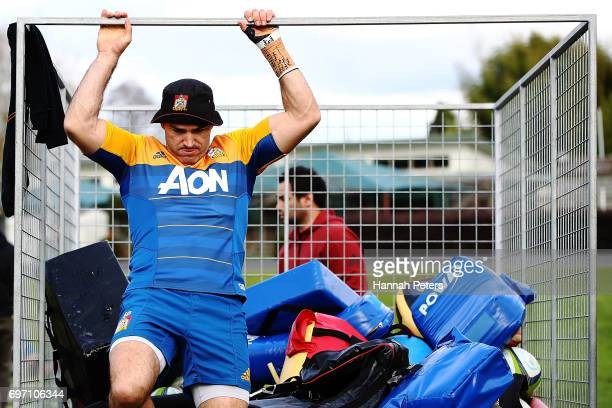 Stephen Donald unloads gear during a Chiefs training session on June 18 2017 in Hamilton New Zealand