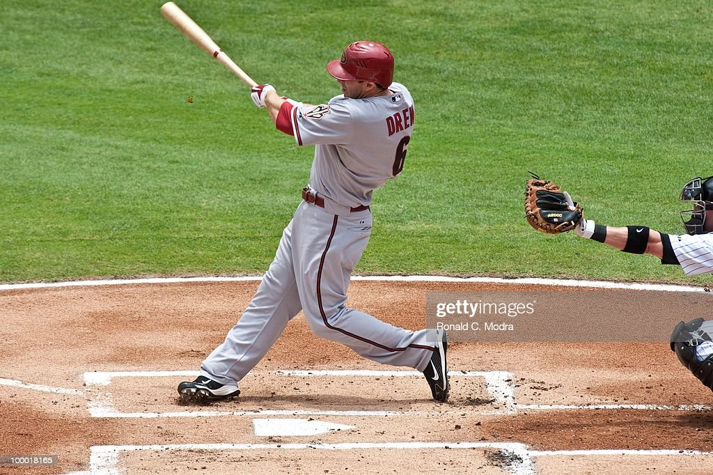 Stephen Drew #6 of the Arizona Diamondbacks bats during a MLB game against the Florida Marlins in Sun Life Stadium on May 18, 2010 in Miami, Florida.