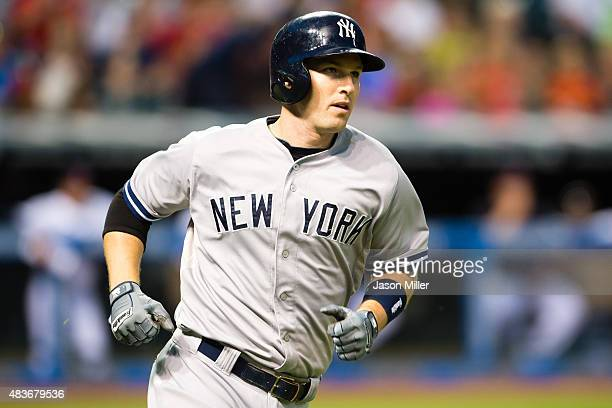 Stephen Drew of the New York Yankees rounds the bases after hitting a solo home run during the sixth inning against the Cleveland Indians at...